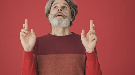armen over elkaar : A good-looking elder gray-haired bearded man in the red sweater is staying in pray pose while making his finger crossed isolated over red wall Stockvideo