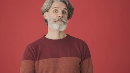 knitted : A handsome elder gray-haired bearded man in the red sweater is shaking his head positively than showing thumb up gesture isolated over red wall