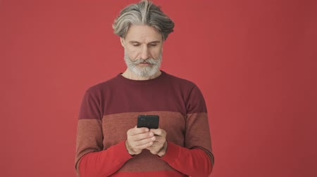 knitted : Focused elder gray-haired bearded man in the red sweater using a smartphone then looking to the camera and doing a hello gesture with a hand isolated over red wall