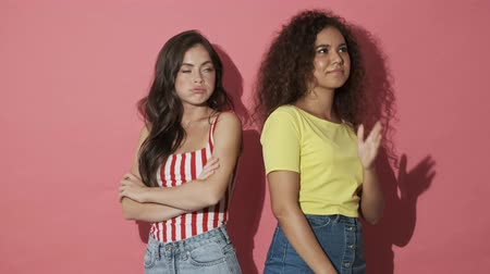 sertés : Two displeased pretty girls friends take offending at each other while standing back to back with crossed arms over pink background