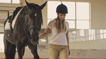 stabilní : A teenage girl jockey wearing riding clothes is walking with a horse in the covered stable Dostupné videozáznamy