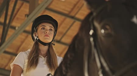 stabilní : A bottom view of a focused nice girl is sitting in the horse in the covered stable Dostupné videozáznamy