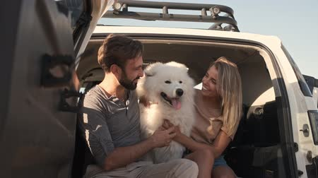 romance : A smiling couple man and woman are hugging and petting a dog while sitting in the car trunk