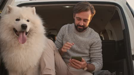 taranmamış : A handsome young man is petting a big white dog in the trunk while using his smartphone outdoors in summer