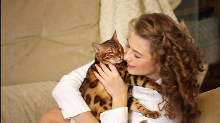 morder : Young girl playing with a pet. Bengal cat. Girl bites the cat, and he did. Home comfort. Best friends.