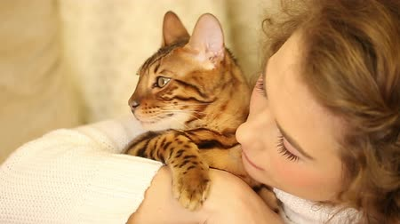 elkényeztet : Young girl playing with a pet. Bengal cat. The girl kisses and hugs cat. Home comfort. Best friends. Close-up.
