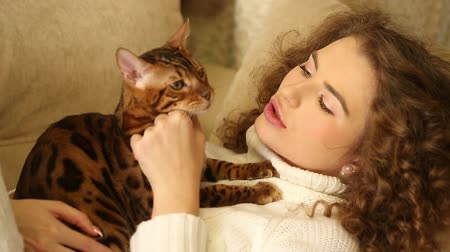 elkényeztet : The girl holds on hands and stroking her Bengal cat. Games with animals. Home comfort. Friends. Stock mozgókép