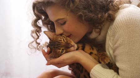 bengal cat : Young cute girl kissing a Bengal cat, close-up. Girl with curly hair. Girl in warm white sweater. Home comfort. Pet.