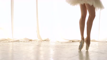 Slender legs of ballerina in pointe. Girl in tutu rehearsing. Ballet dancer. Graceful movement of legs. Classic ballet.