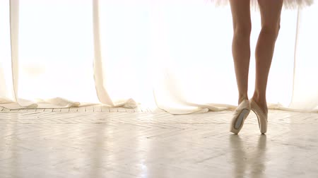 Slender legs of ballerina in pointe on tiptoe. Girl in tutu rehearsing. Ballet dancer. Graceful movement of legs. Classic ballet. Dostupné videozáznamy