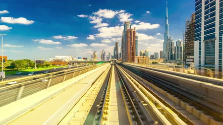 modern train wagon : 4K TimeLapse. From windshield window of the first wagon of Dubai metro Stock Footage