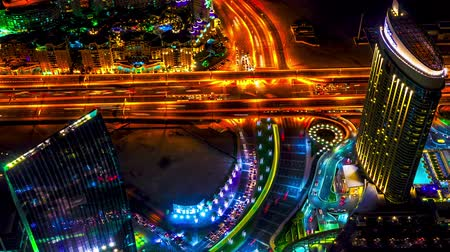 bakış : 4K TimeLapse - night view highway from the viewpoint Burj Khalifa, Dubai