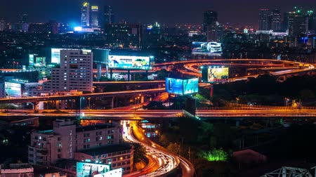night scene : 4K TimeLapse. View of the night city and car traffic in the highways Stock Footage