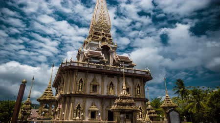 heykel : 4K TimeLapse. Camera move around old pagoda the Wat Chalong temple