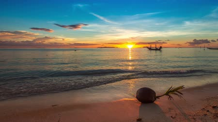 beach panorama : 4K TimeLapse. Sunset sea turns into a night with the stars, Koh Samui, Thailand