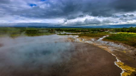 strokkur : 4K TimeLapse. Geysir Strokkur - the second largest and most active geyser in Iceland Haukadalur Valley. Iceland, 15 June 2015