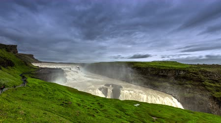 gullfoss : 4K TimeLapse. Gullfoss, or Golden Falls - one of the most visited waterfalls in Iceland. Iceland, 15 June 2015 Stock Footage