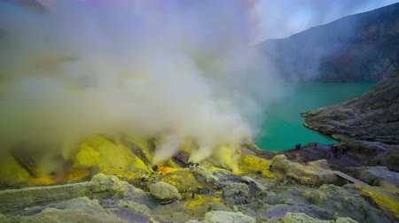 banyuwangi : 4K Timelapse. The sulfur fumes in the crater of an active volcano Ijen. East Java, Indonesia - 25 July 2015
