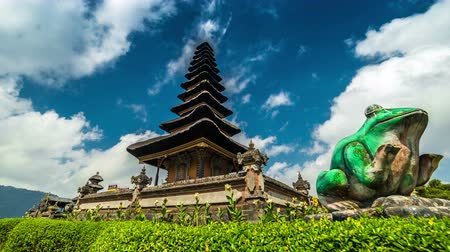 bratan : 4K Timelapse. Clouds over the temple Pura Ulun Danu Bratan. 15 July 2015, Bali, Indonesia