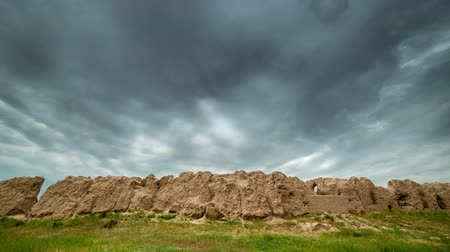 destroyed building : 4K Timelapse Destroyed clay wall of the ancient city of Sauran, Kazakhstan