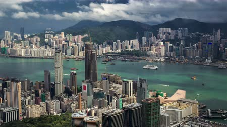 icc : Aerial view of Hong Kong island from Sky100. 4K TimeLapse - August 2016, Hong Kong Stock Footage
