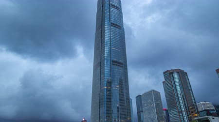 icc : International Finance Center tower facade in Hong Kong. 4K TimeLapse - August 2016, Hong Kong
