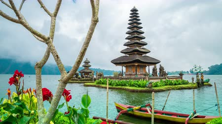 bratan : View of red flowers and temple Pura Ulun Danu Batur in Bali, Indonesia. Stock Footage