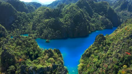 Palawan, Philippines, aerial view of Kayangan and Barracuda Lake in Coron island. Wideo