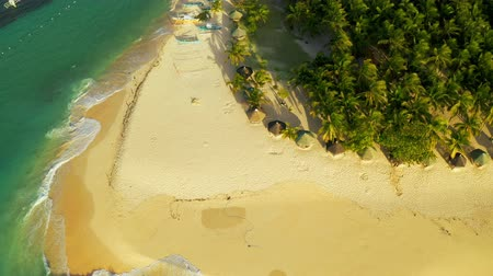 siargao island : Aerial View of paradise white sand beach and azure sea on tropical Daku Island in Siargao, Philippines