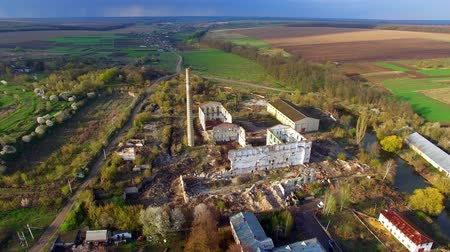 Aerial view of a destroyed factory. Remains of buildings. Wideo