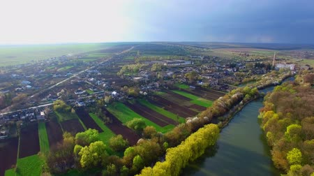 aerial view of beautiful nature and cozy streets with houses Stock Footage