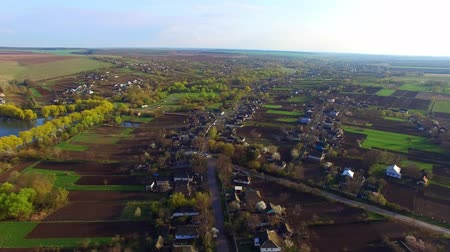 aerial view of beautiful nature and diverse trees and houses