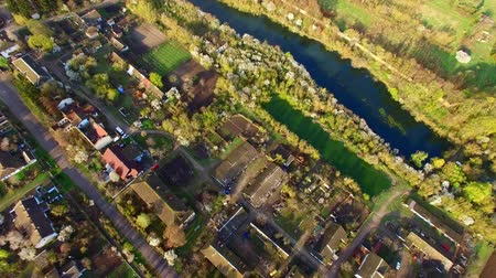 aerial view of beautiful streets, houses and colorful gardens Stock Footage