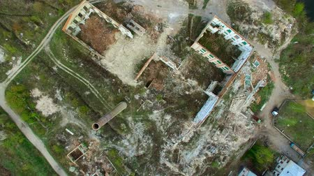 Aerial view of a destroyed factory. Remains of buildings. Stock Footage