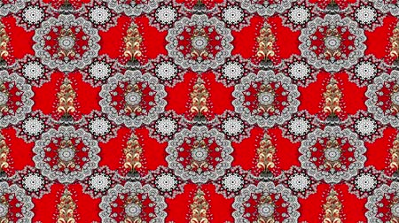 дамаст : Vintage floral composition on red background