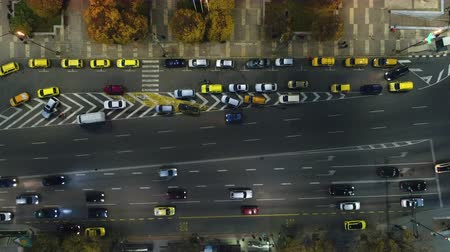 sofia : Aerial night view of cars and street traffic in the city downtown. Varna, Bulgaria