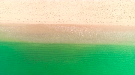 brasil : Aerial top view on the beach. Clear sand and blue sea water. Stock Footage