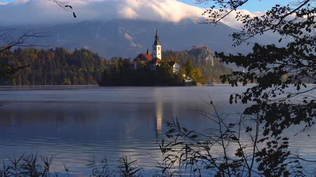 marys : Lake Bled, Slovenia with St. Marys Church of the Assumption on the small island Stock Footage