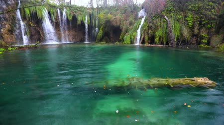plitvice : Fall and clear water in lake. Autumn forest in Plitvice National Park, Croatia.