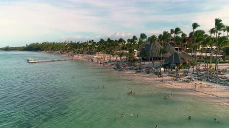 punta : Aerial video footage of Caribbean tropical beach with palm trees and white sand. Travel and vacation in Bavaro resort. Punta Cana, Dominican Republic. Stock Footage