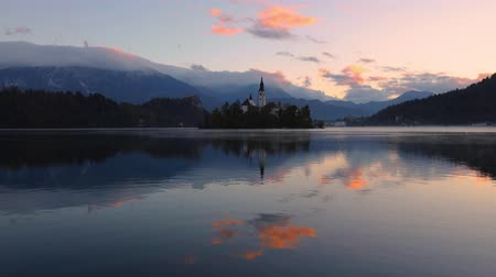 marys : Lake Bled with St. Marys Church of the Assumption on the small island; Bled, Slovenia, Europe