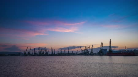 海港 : Panoramic view toward sea port and industrial cranes, Varna, Bulgaria 動画素材