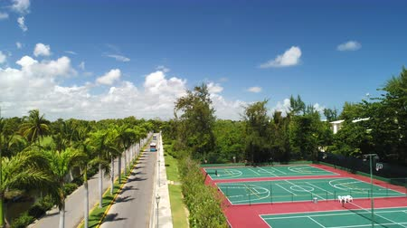tennis stadium : Aerial view of tennis courts and sport playgrounds for recreation and tennis training in tropical resort