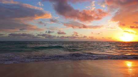 barbados : Ocean sea sunrise on caribbean island beach. Punta Cana, Dominican Republic Stock Footage