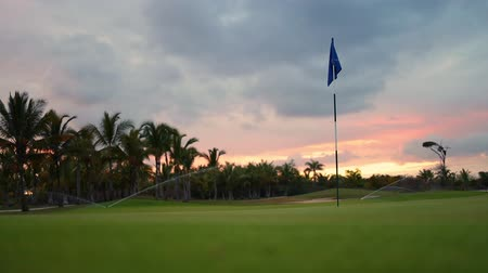 catamaran : Tropical golf course at sunset in the countryside Stock Footage