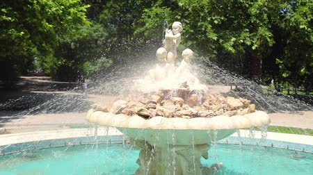 bułgaria : Fountain with angels statue in a sea garden park with grass and trees around it in Varna, Bulgaria Wideo