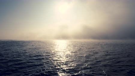 압연 : Sea sunrise and foggy morning. Fog above blue ripple water, aerial view 무비클립