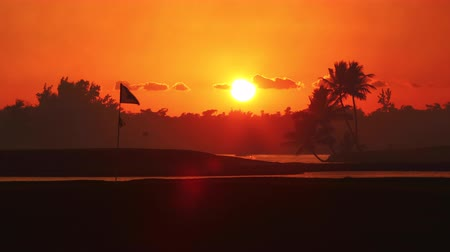 Golf course in the tropical island, beautiful sunset with palm trees silhouettes video