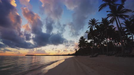 frutas : Sunrise over tropical island beach and palm trees. Punta Cana, Dominican Republic Stock Footage