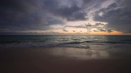 Tropical sea sunrise on exotic caribbean beach